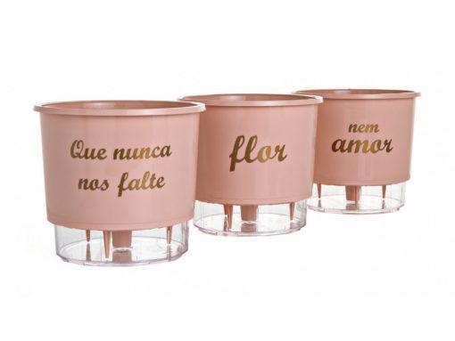Kit Com 3 Vasos Autoirrigáveis Flor E Amor Rosa